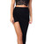 Emprada - Black Asymmetrical Draped Lay Over Skirt | Emprada