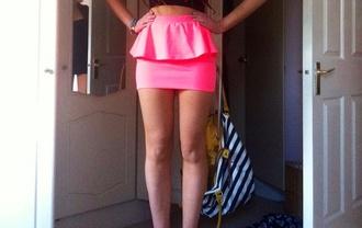 skirt pink skirt mini skirt pink peplum skirt peplum high waisted skirt cotton