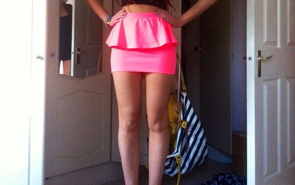 cotton skirt pink skirt mini skirt pink peplum skirt peplum high waisted skirt