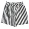 Vintage 1980's shorts: 80s -air express- womens black and white vertical stripe print cotton thick pleated totally 80s shorts with double button/zip front closure, wide legs and standard belt loops.