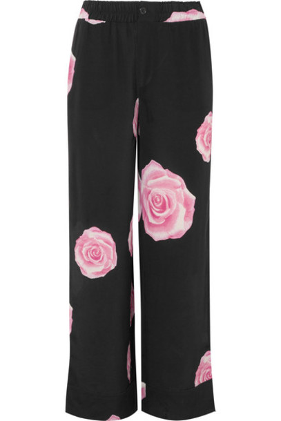 Ganni pants floral print black silk