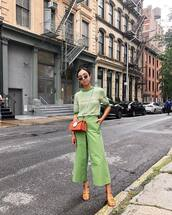 bag,crossbody bag,mini bag,wide-leg pants,cropped pants,short sleeve,blouse,mid heel sandals,retro sunglasses