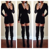 boots,above the knee,heel boots black,shoes,black,dress,romper,black boots,black romper,longsleeve shirt,high heels,knee high boots