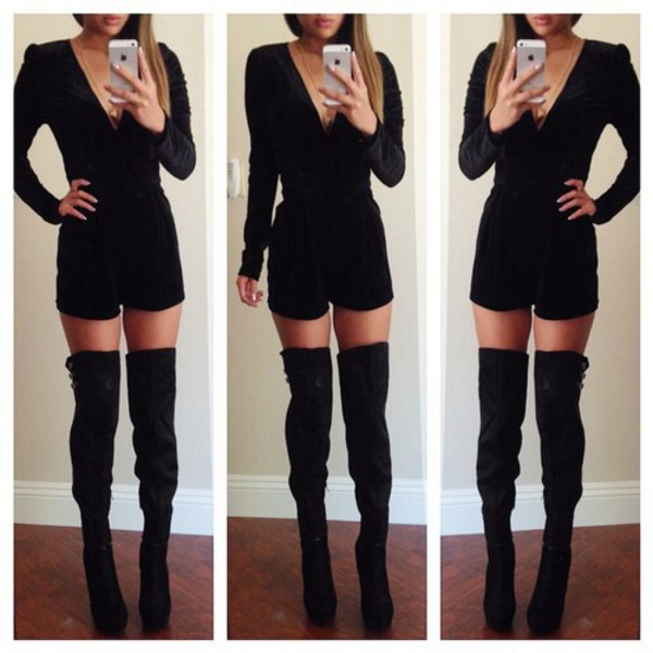 black the knee boots stretch suede laced back high heels