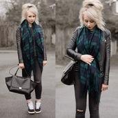 sammi jackson,blogger,blanket scarf,tartan scarf,black bag