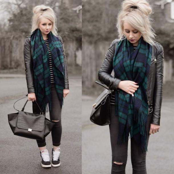 sammi jackson blogger blanket scarf tartan scarf black bag