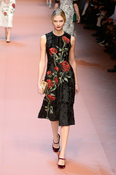 dress midi dress karlie kloss fashion week 2015 floral floral dress dolce and gabbana