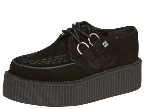 T.U.K. Creeper Sneaker Round Toe Suede Black - Free Shipping. Easy Returns