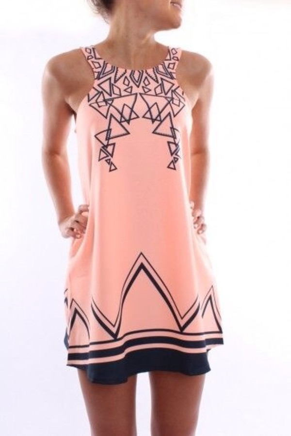 dress pink black triangles shift shift dress tank dress triangle blue cute summer peach dress
