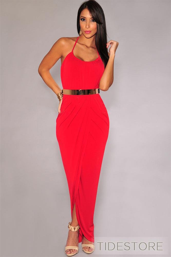 with golden belt maxi dress fashion clothing