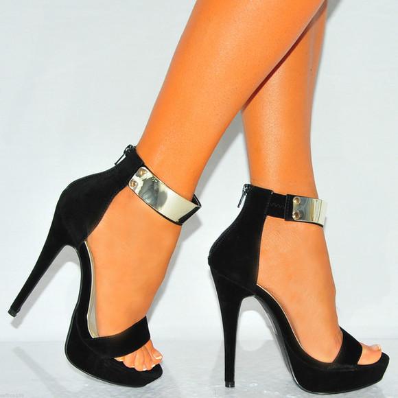 high heels black black heels stilettos high heels zip fastening heels black heels with ankle strap gold metal ankle strap black court heels strappy sandals peep toes stilettos faux suede heels metallic black heels