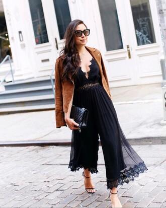 jumpsuit suede sunglasses tumblr black jumpsuit cropped jumpsuit sandals sandal heels high heel sandals jacket suede jacket bag shoes