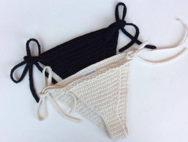 swimwear girl girly girly wishlist black crochet crochet bikini bikini bottoms