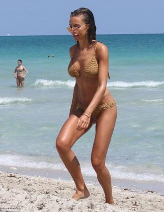 swimwear beige crochet bikini