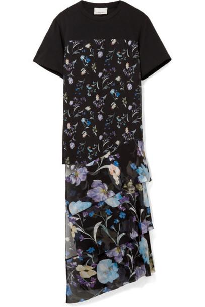 3.1 Phillip Lim top chiffon floral cotton print black silk