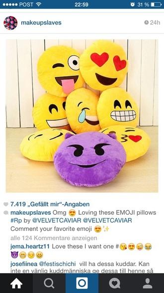 home accessory pillow emoji print funny
