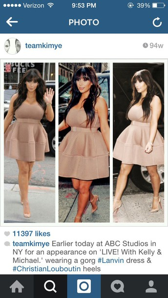 skirt kim kardashian nude dress