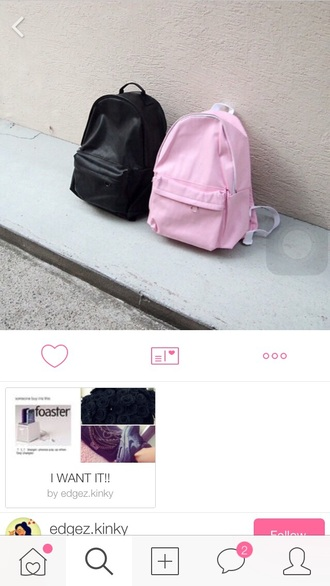 bag school bag solid pink black red orange yellow green blue purple backpack tumblr