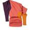 Off-shoulder color block double georgette dress