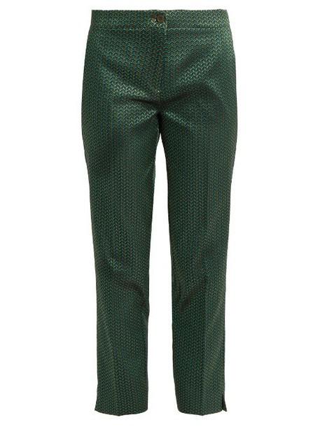ETRO Chevron-jacquard straight-leg trousers in blue / multi