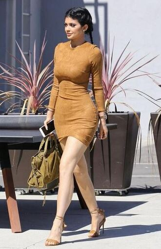dress kylie jenner bodycon dress sandals shoes bag purse fall outfits fall dress