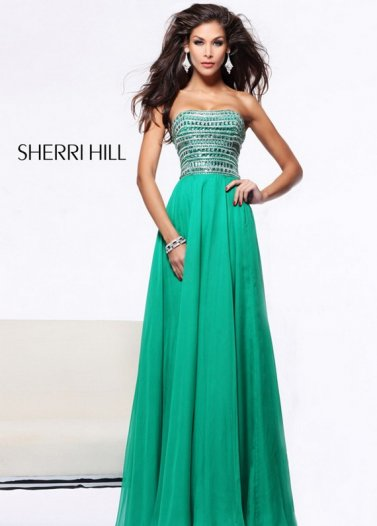 Green Strapless Rhinestone Beaded Sherri Hill 1539 Dress [Sherri Hill 1539 Green] - $319.00 : Prom Dresses 2014 Sale, 70% off Dresses for Prom