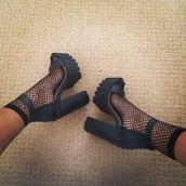 heels,black heels,ankle strap heels,ankle strap,cleated sole platforms,platform shoes,net,shoes,high heels