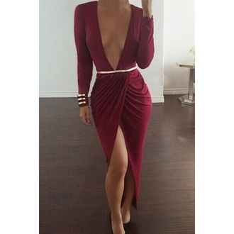 dress long sleeves maxi dress fitted dress deep v neck dress long sleeve dress burgundy v neck dress vneck dress v neck burgundy dress
