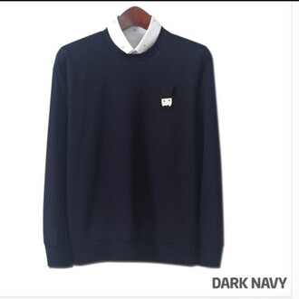 sweater navy pullover sweater sweatshirt jumper knitwear