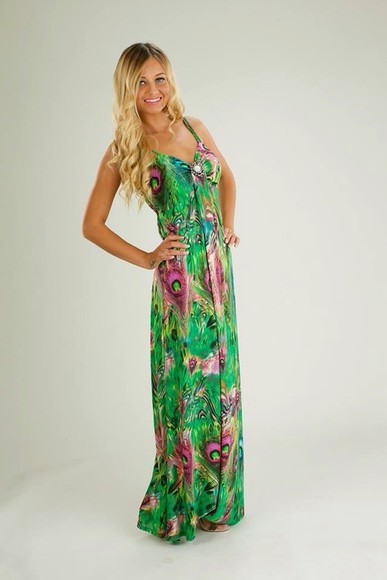perfecto fashion dress maxi maxi dress peacock print green purple stunning dress holiday dress holiday shop holiday elegant long dress