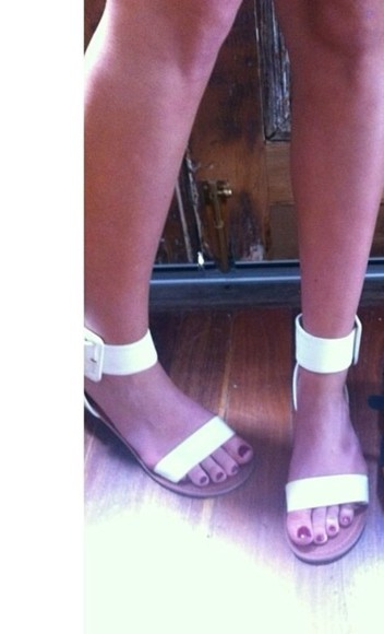 shoes cuff hits white sandals