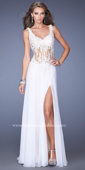 ivory prom formal slit detail