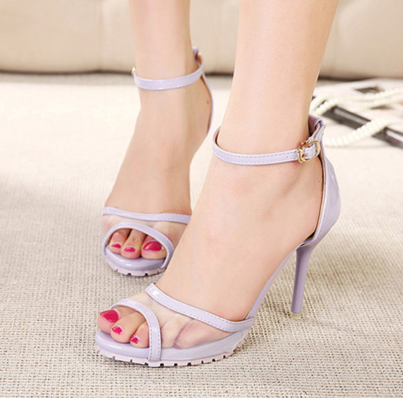 high heels shoes black purple summer wedding sandals girls