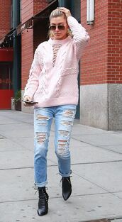 sweater,baby pink,hailey baldwin,ripped jeans,jeans,boots,streetstyle,fashion week 2016,NY Fashion Week 2016