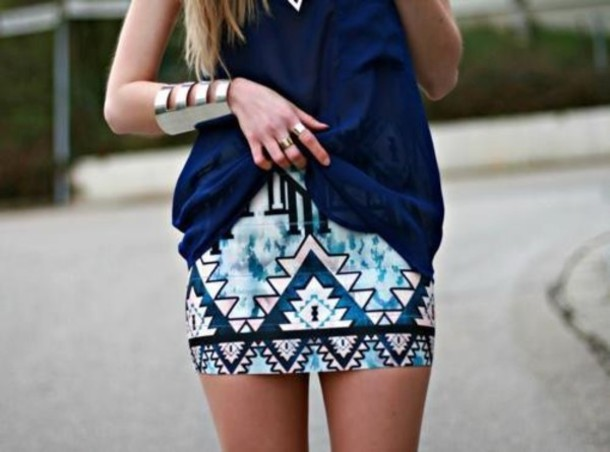 skirt aztec print aztecprint shirt clothes blue skirt aztec skirt tribal blue tribal pattern
