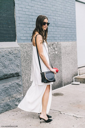 top,tumblr,chanel,chanel shoes,mules,black mules,bag,black bag,shoulder bag,skirt,maxi skirt,slit skirt,white top,chanel mules,shoes,fashion week street style,fashion week,streetstyle,white skirt,sunglasses