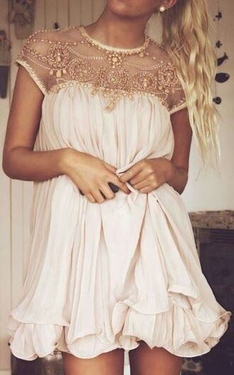 dress white dress gold flower prom dress gold sequins ruffle gold accent
