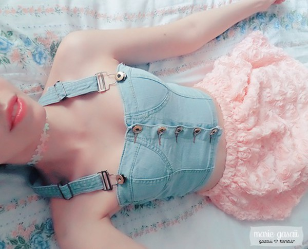 blouse crop tops jeans skirt jewels