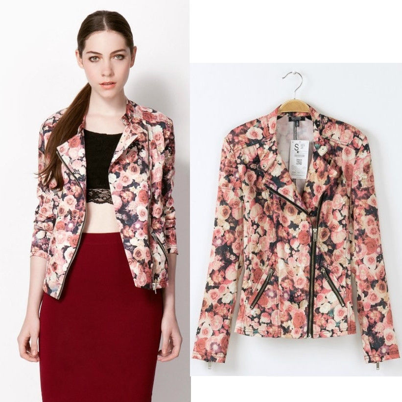 Womens European Fashion Pink Flower Print Oblique Zipper Blazer Coat B4563ms | eBay