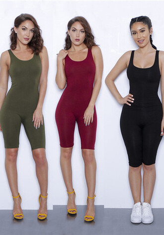 romper jumpsuit one piece khaki black red wine red pants top