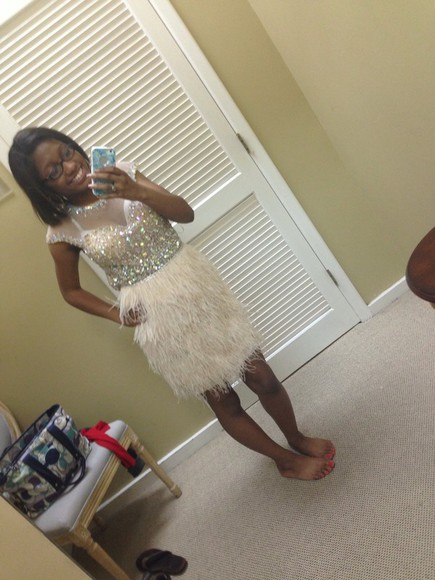 dress feathers prom dress diamonds