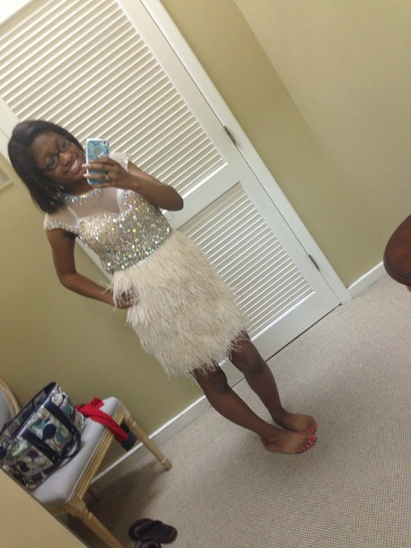 dress prom dress feathers diamonds