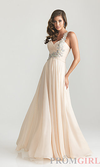 Night Moves One Shoulder Prom Dress and Evening Gowns- PromGirl
