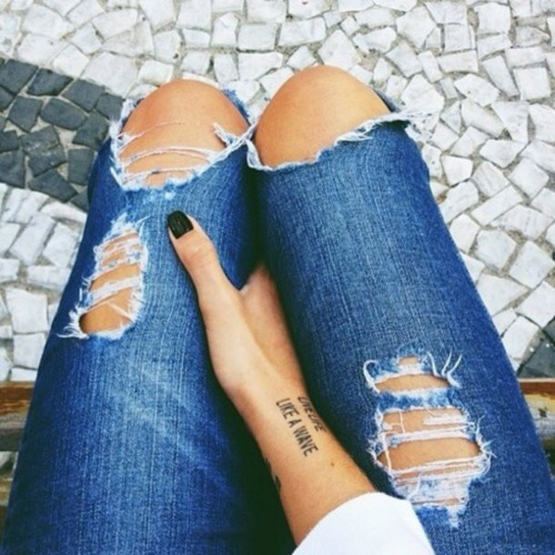 Cute Jeans - Nrla Jeans Bluejeans Ripped Jeans Loveit Tumblr Cute Tattoos Girly Hipster Followme