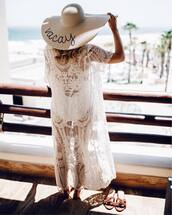 dress,hat,tumblr,cover up,swimwear,one piece swimsuit,white swimwear,shoes,sun hat