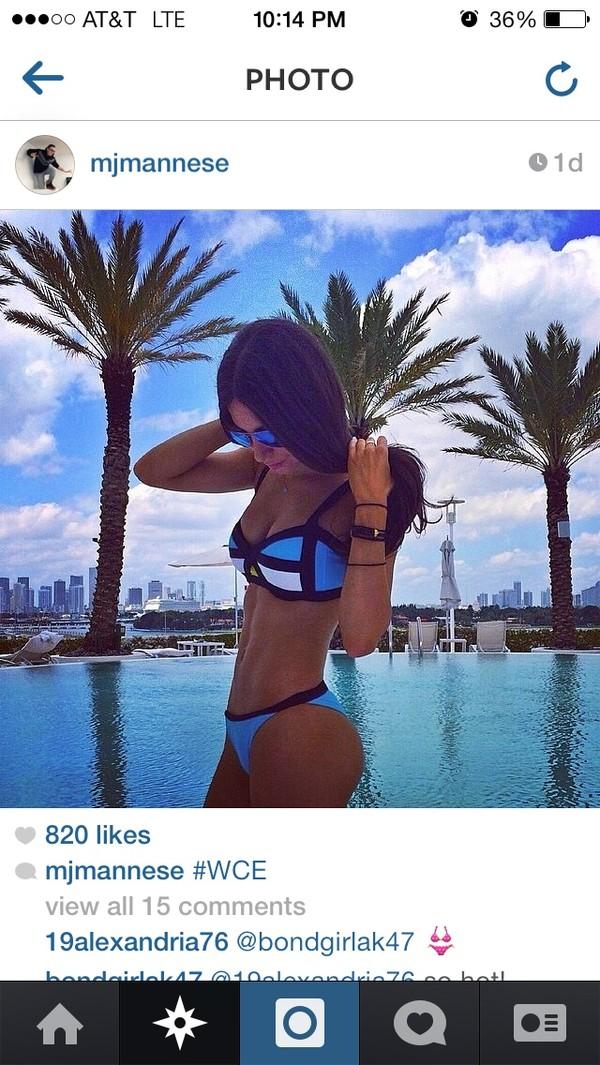 swimwear jen selter bikini blue white black