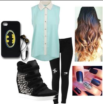 earphones noire et jaune batman blouse