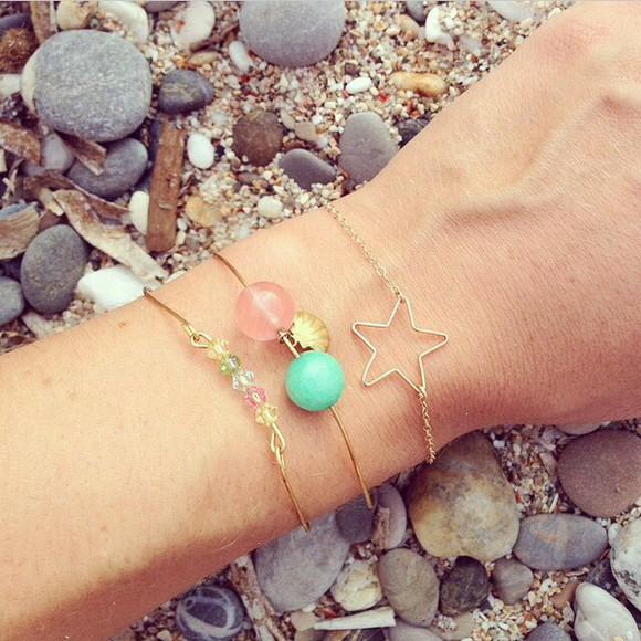 pearl jewels bracelets gold gold bracelets stars cute jewelry cute