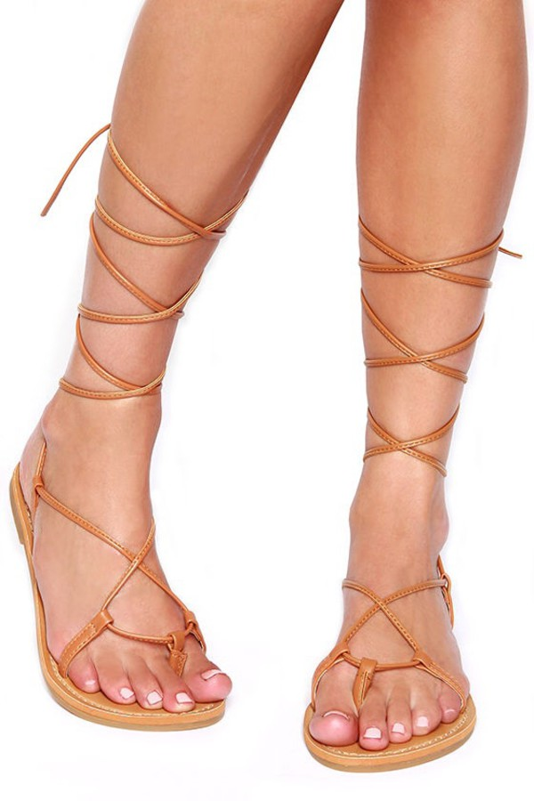 fc90678b5a3b Lace Up Metallic Leg Wrap Thong Self Tie Flat Gladiator Flat Sandals ARMIN