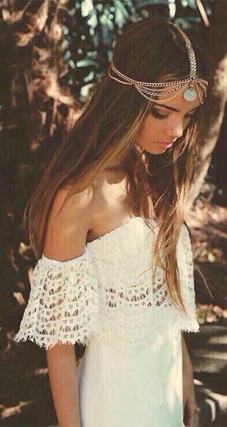 dress white lace boho hair accessory